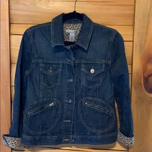 Chico's jean jacket with leopard print platinum M